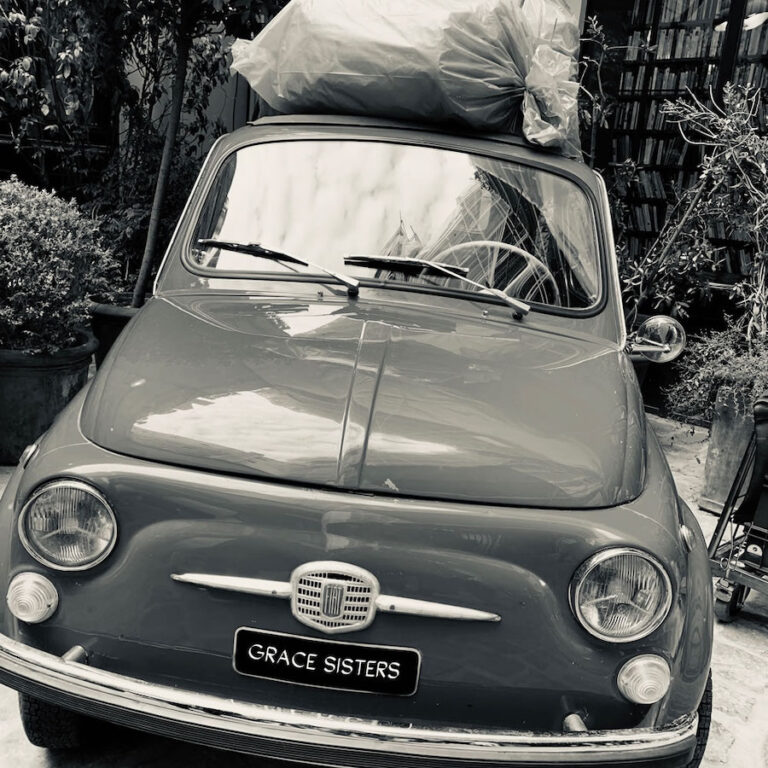 grace sisters sourcing car black and white