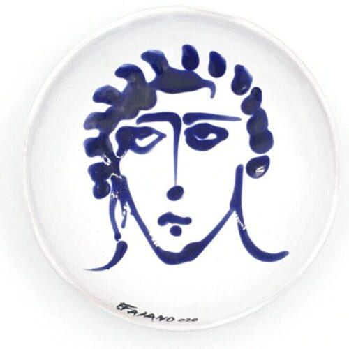 Fasano face bowl in dark blue and white