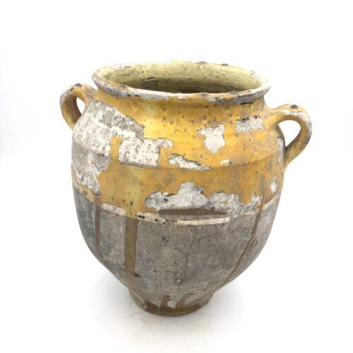 Yellow part glazed French confit pot