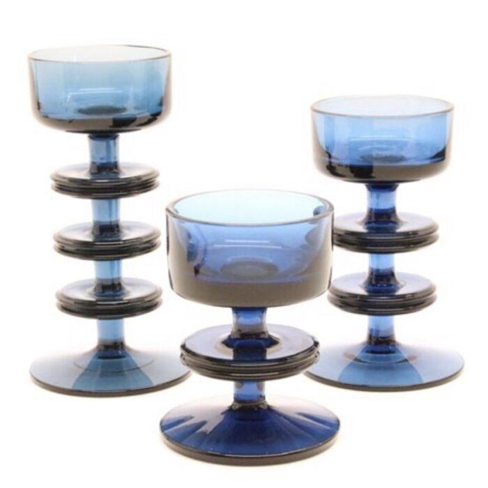 Wedgwood glass candle stick tea light holders blue