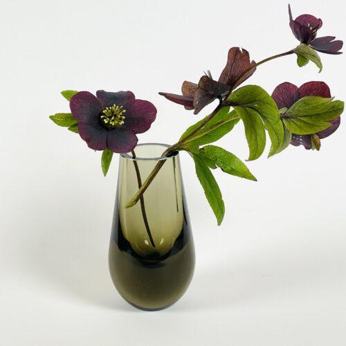 tiny green white friars vase