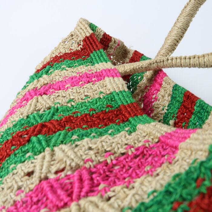 Macrame crochet pink stripe bag