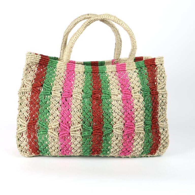 Macrame crochet pink stripe bag 2