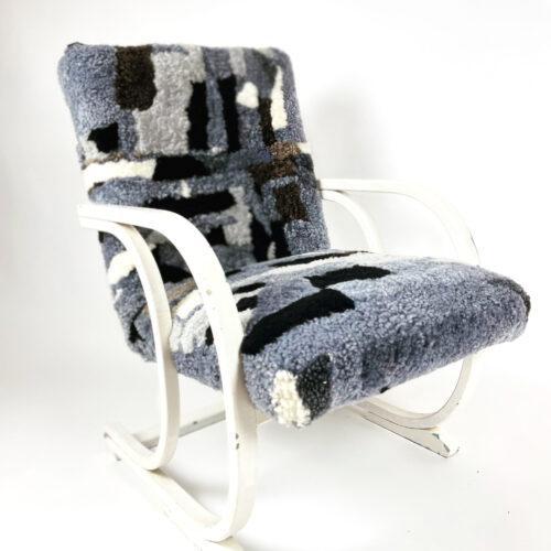 Sheepskin covered chair